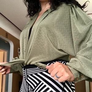 Vintage moss green button down